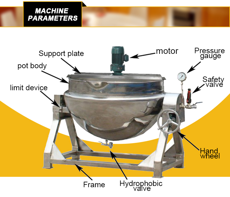 tilting jacketed kettle structure