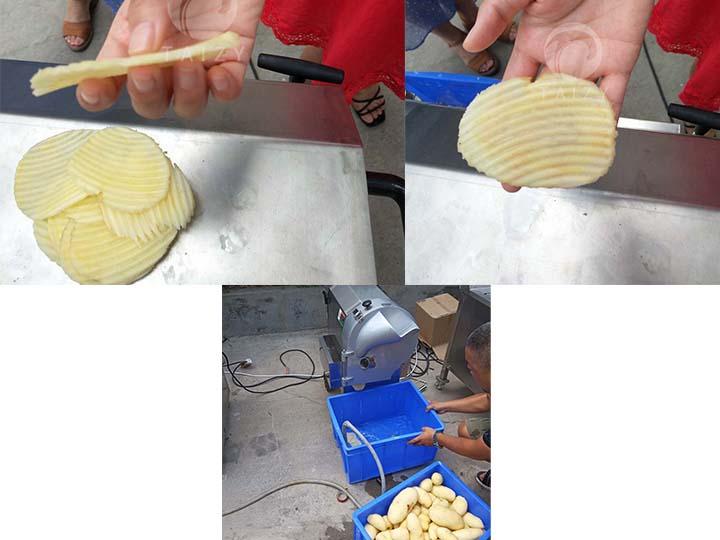 potato chips slicing machine apply scene