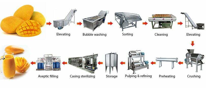 mango juice pulp processing line flow chart