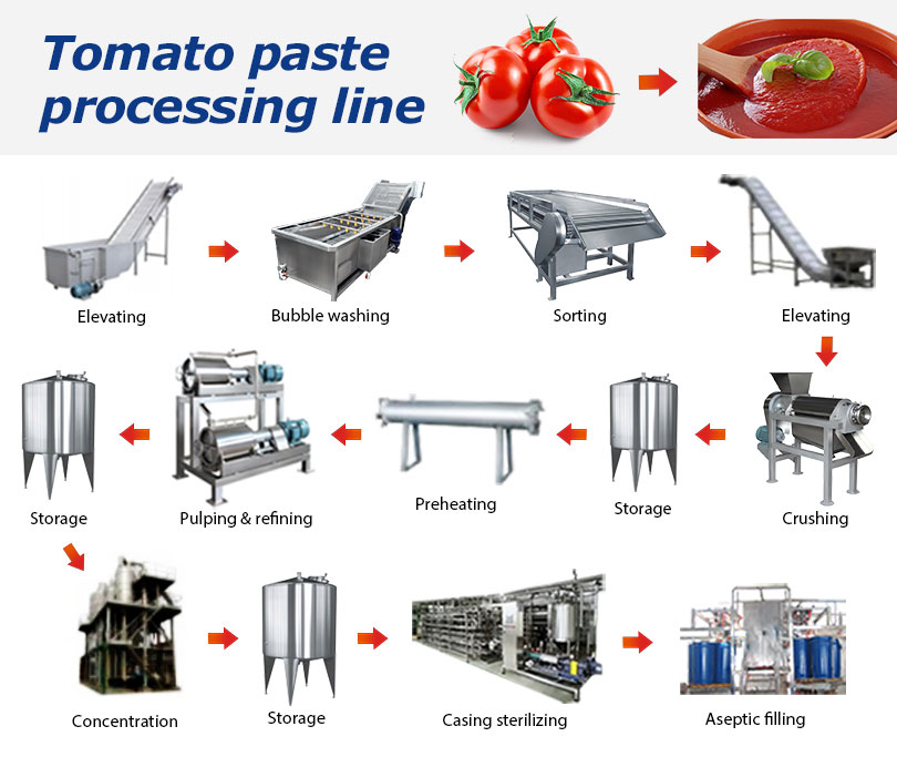 tomato sauce processing line flow chart