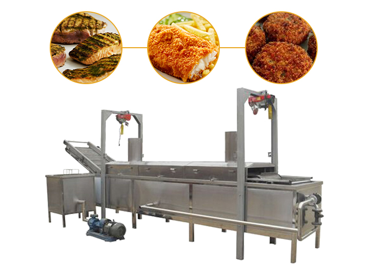 industrial continuous fish staek frying machine